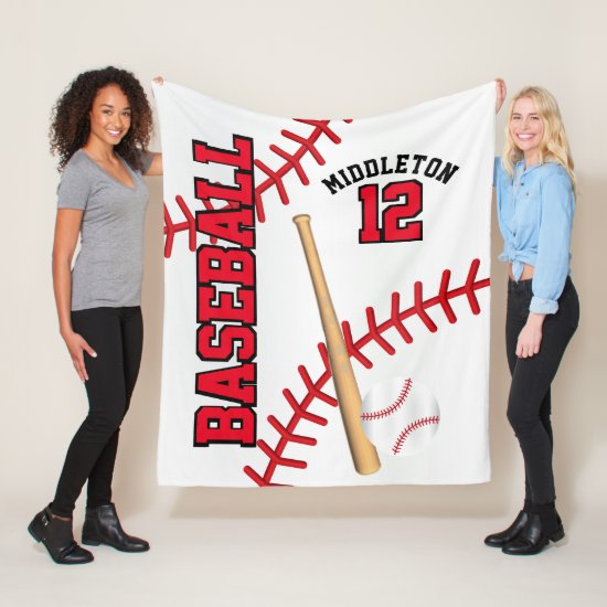 Baseball Sport in Red Fleece Blanket