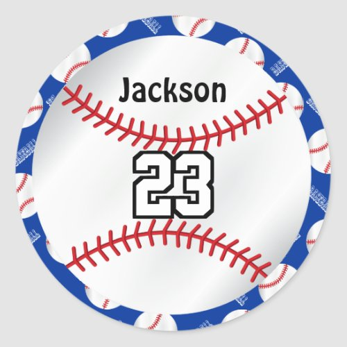 Baseball Sport  Personalize  _ Blue Classic Round Sticker