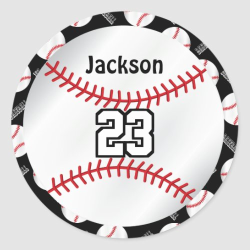 Baseball Sport  Personalize  _ DYI Color Classic Round Sticker