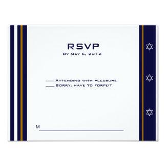 Baseball Sports Bar Mitzvah RSVP Custom Logo 2 4.25x5.5 Paper Invitation Card