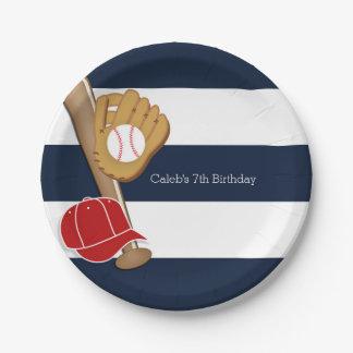 Baseball Sports Blue & White Striped Custom Party Paper Plate