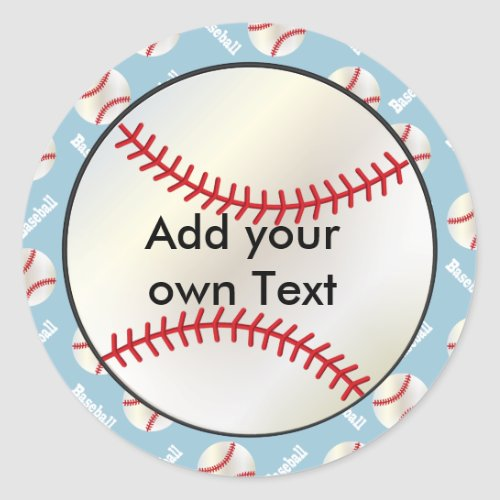 Baseball Sports  DIY Background  DIY Text Classic Round Sticker