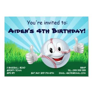 Baseball sports party birthday invite
