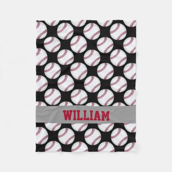 Baseball Sports Personalized Black White Red Fleece Blanket