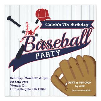 Baseball Sports Pin Striped Birthday Party Card
