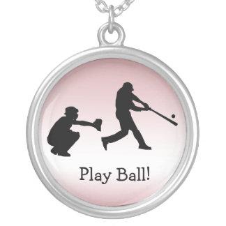 Baseball Sports Pink Girly Play Ball Necklace