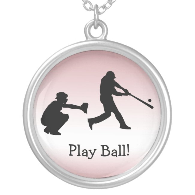 Baseball Sports Pink Girly Play Ball Necklace