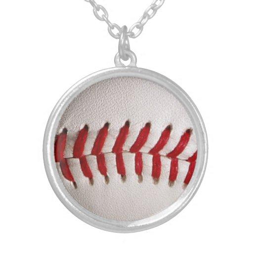 Baseball Sports Round Pendant Necklace