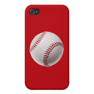 Baseball - Sports Template Baseballs on Red iPhone 4/4S Cases