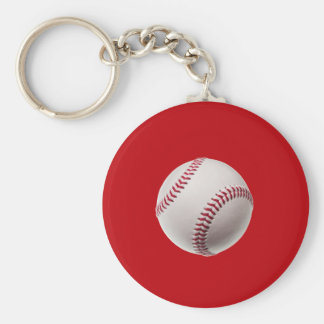 Baseball - Sports Template Baseballs on Red Keychain