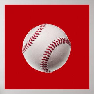 Baseball - Sports Template Baseballs on Red Poster