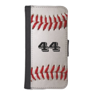 Baseball Sports with Custom Number Wallet Phone Case For iPhone SE/5/5s
