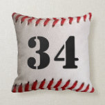 Baseball Sports with Large Customizable Number Throw Pillow
