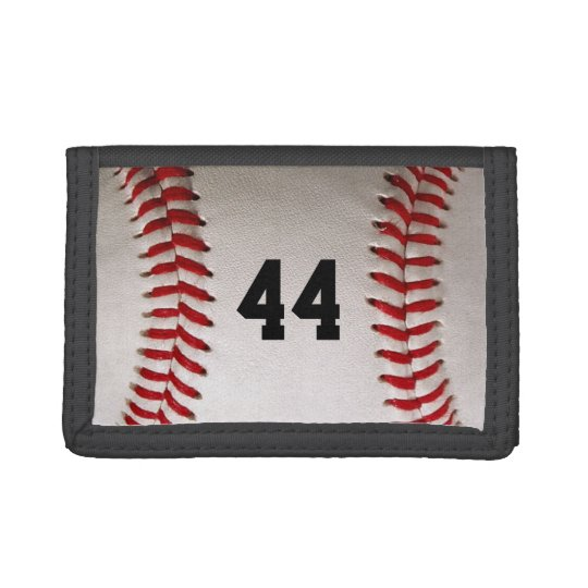 Baseball Sports with personalized number Tri-fold Wallets
