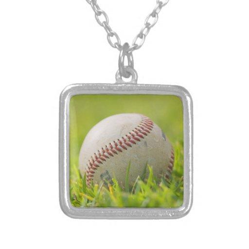 Baseball Square Pendant Necklace