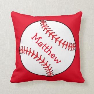 Baseball Square Throw Pillow