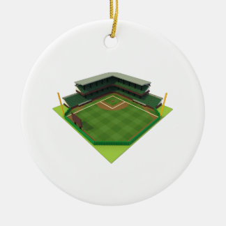 Baseball Stadium Voxel Art Ceramic Ornament