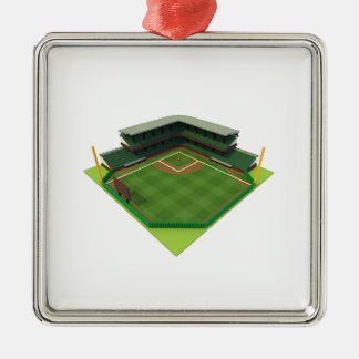 Baseball Stadium Voxel Art Metal Ornament