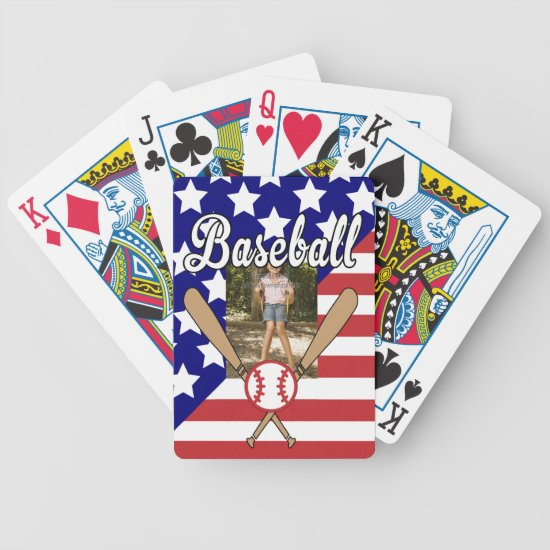 Baseball stars and stripes photo frame bicycle playing cards