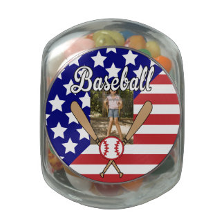 Baseball stars and stripes photo frame jelly belly candy jars