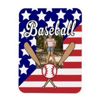 Baseball stars and stripes photo frame magnet