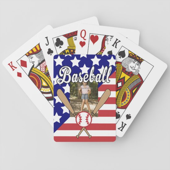 Baseball stars and stripes photo frame playing cards