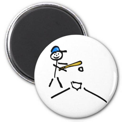 Baseball Stick Figure 2 Inch Round Magnet