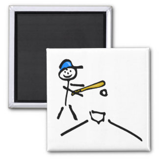 Baseball Stick Figure 2 Inch Square Magnet