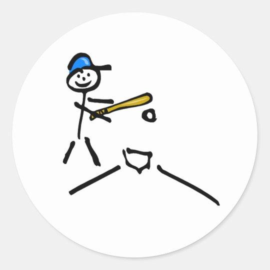 Baseball Stick Figure Classic Round Sticker