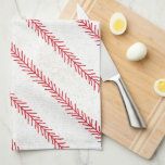"Baseball Stitch Kitchen Towel<br><div class=""desc"">Play Ball! Celebrate America's Favorite Past-time with this baseball themed kitchen towel inspired by a baseball's stitching.</div>"