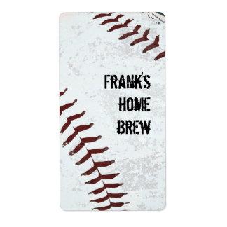 baseball stitched beer bottle label