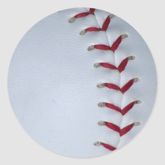 Baseball Stitches Classic Round Sticker