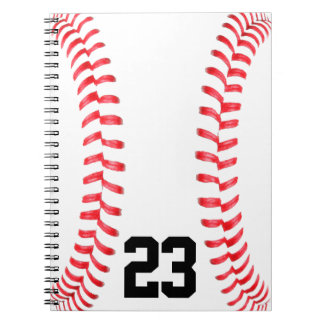 Baseball Stitches & Custom Jersey Number Notebook