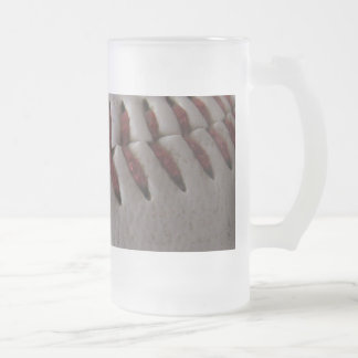 Baseball Stitches Frosted Glass Beer Mug