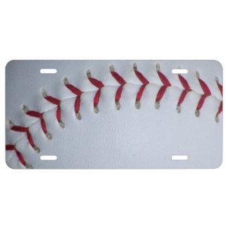 Baseball Stitches License Plate