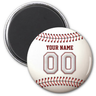 Baseball Stitches Player Number 00 and Custom Name 2 Inch Round Magnet
