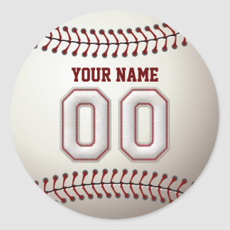 Baseball Stitches Player Number 00 and Custom Name Classic Round Sticker