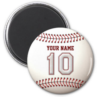 Baseball Stitches Player Number 10 and Custom Name 2 Inch Round Magnet