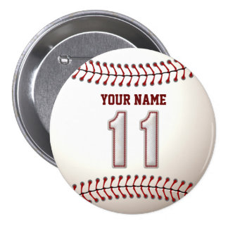 Baseball Stitches Player Number 11 and Custom Name Button