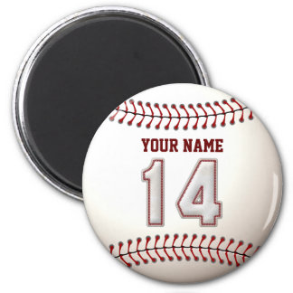 Baseball Stitches Player Number 14 and Custom Name 2 Inch Round Magnet