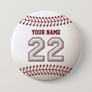 Baseball Stitches Player Number 22 and Custom Name Pinback Button