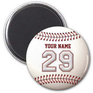 Baseball Stitches Player Number 29 and Custom Name 2 Inch Round Magnet