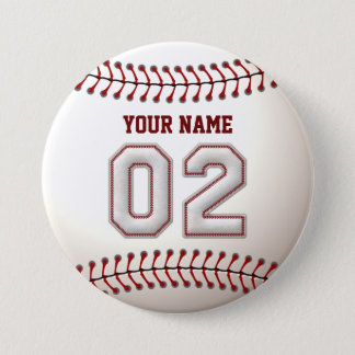 Baseball Stitches Player Number 2 and Custom Name Button
