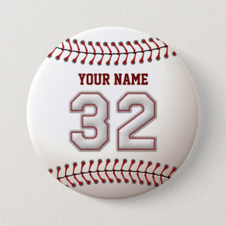 Baseball Stitches Player Number 32 and Custom Name Pinback Button