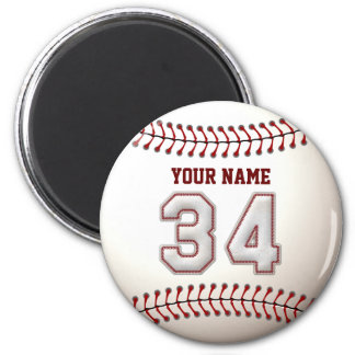 Baseball Stitches Player Number 34 and Custom Name 2 Inch Round Magnet