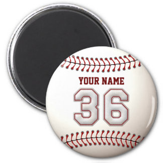 Baseball Stitches Player Number 36 and Custom Name 2 Inch Round Magnet