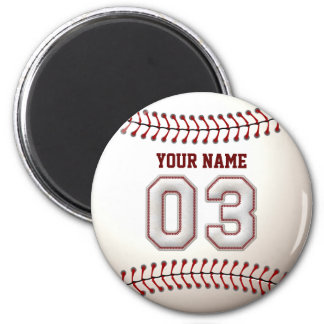 Baseball Stitches Player Number 3 and Custom Name 2 Inch Round Magnet