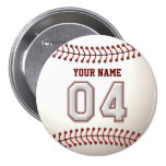 Baseball Stitches Player Number 4 and Custom Name Pinback Button