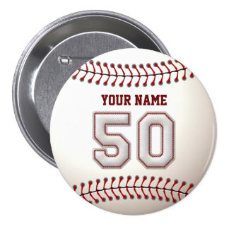 Baseball Stitches Player Number 50 and Custom Name Pinback Button