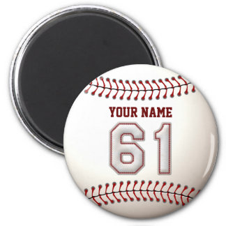 Baseball Stitches Player Number 61 and Custom Name 2 Inch Round Magnet